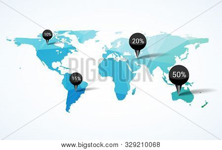 World Map Earth Infographic Design. Country Europe Template, Globe Background Continent For Travel