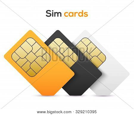 Sim Card Vector Mobile Phone Icon Chip. Simcard Set Isolated 3d Design Gsm