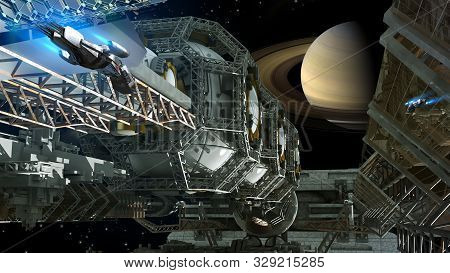 3d Illustration Of A Space Station Nearing Saturn For Futuristic Interstellar Travel Or Science Fict
