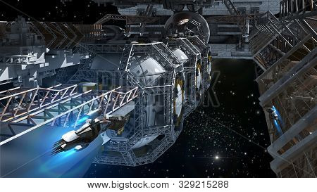 3d Detailed Close-up Illustration Of A Space Station For Futuristic Interstellar Travel Or Science F