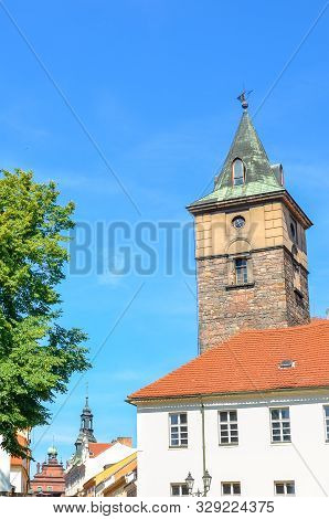 Historic Water Tower, Vodarenska Vez, In Plzen, Czech Republic On A Sunny Day. Pilsen City, Western