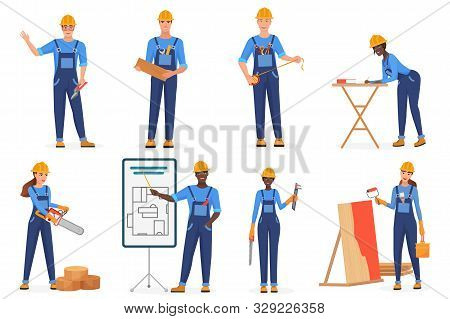 Builders In Uniform Flat Vector Characters Set. Construction Workers In Blue Jumpsuits And Hardhats.