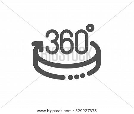 Vr Simulation Sign. 360 Degrees Icon. Panoramic View Symbol. Classic Flat Style. Simple 360 Degrees