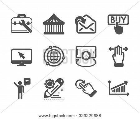Set Of Technology Icons, Such As Agent, Chart, Globe, Rotation Gesture, Receive Mail, Tool Case, Mul