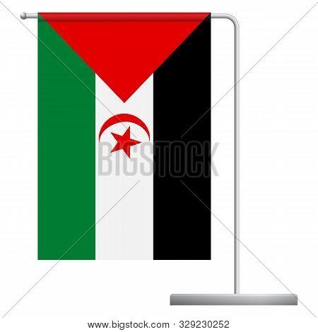Sahrawi Arab Democratic Republic Table Flag. Metal Flagpole. National Flag Of Sahrawi Arab Democrati