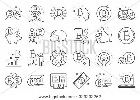 Cryptocurrency Line Icons. Set Of Blockchain, Crypto Ico Start Up And Bitcoin Icons. Mining, Cryptoc