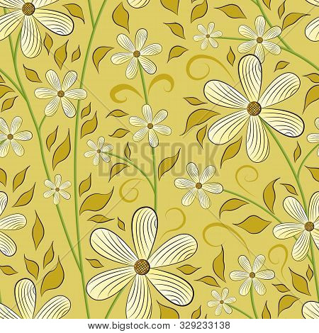 Seamless Floral Pattern. Light Sand Flowers On Yellow-green Stems, Ocher Leaves, Yellow Background.