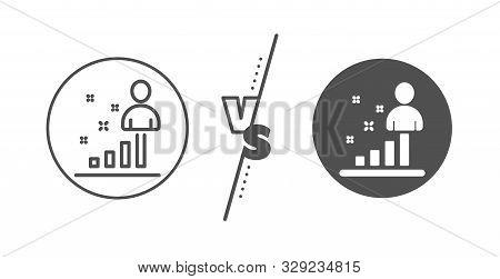 Business Management Sign. Versus Concept. Stats Line Icon. Best Employee Symbol. Line Vs Classic Sta