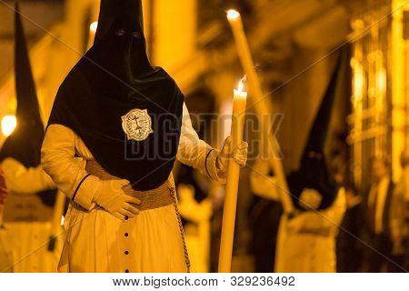 Marchena, Seville, Spain - April 18, 2019: Procession Of Holy Week In Marchena, Seville. Holy Thurst