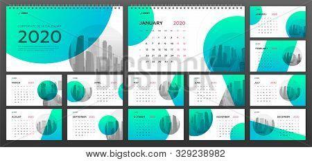 Desktop Calendar 2020 Template For Business And Construction. Week Starts On Monday. Set Of 12 Calen