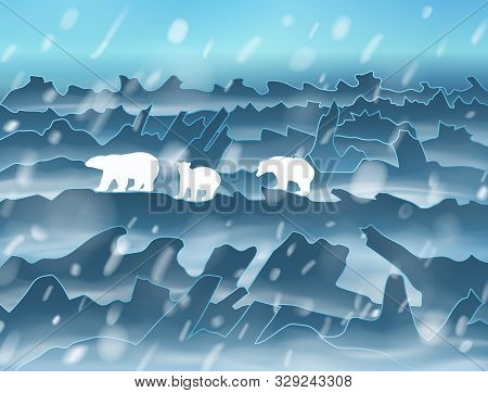 The Family Of Polar Bears Walking At Night In The Snowstorm. Vector Silhouette Illustration