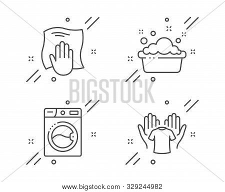 Washing Machine, Hand Washing And Hold T-shirt Line Icons Set. Laundry, Laundry Basin, Wipe With A R