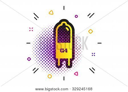 Light Bulb Icon. Halftone Dots Pattern. Lamp G4 Socket Symbol. Led Or Halogen Light Sign. Classic Fl