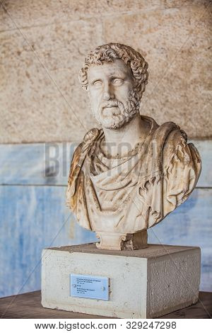 Athens, Greece - April, 2018: Portrait Bust Of The Emperor Antoninus Pius At The Stoa Of Attalos In