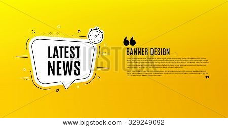 Latest News Symbol. Yellow Banner With Chat Bubble. Media Newspaper Sign. Daily Information. Coupon
