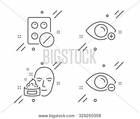 Farsightedness, Medical Tablet And Face Cream Line Icons Set. Myopia Sign. Eye Vision, Medicine Pill