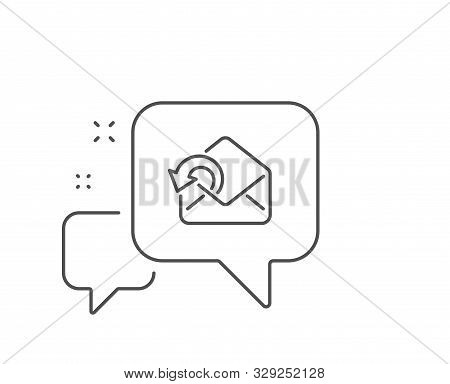 Send Mail Download Line Icon. Chat Bubble Design. Sent Messages Correspondence Sign. E-mail Symbol.