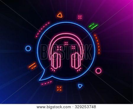Headphones Line Icon. Neon Laser Lights. Music Listen Sign. Musical Earphones Symbol. Glow Laser Spe