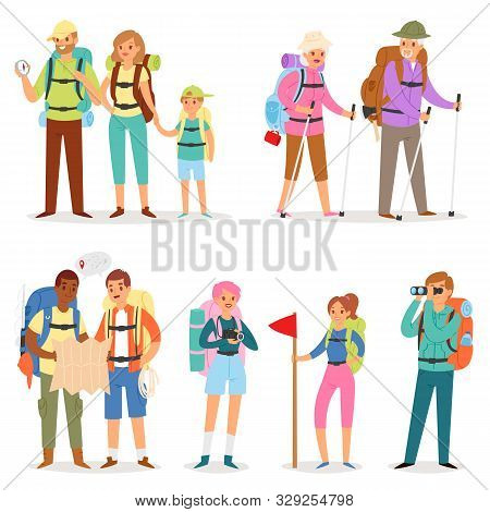 Tourist Vector Traveling People Tripper Traveler Man Woman Camper Character With Backpack On Vacatio