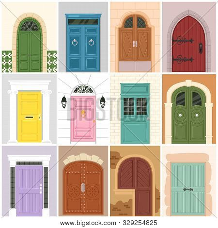 Doors Vector Vintage Doorway Front Entrance Wooden Entry Indoor House Wall Nterior Illustration Set