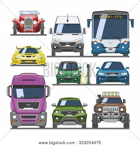 Car Vector Front View Auto Delivery Transport Offroad Automobile Vehicle Sportcar Illustration Set O