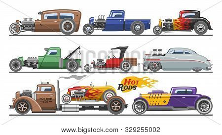 Hot Rods Car Vector Vintage Classic Vehicle And Retro Auto Transport Roadster Illustration Set Of Ho