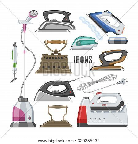 Iron Vector Ironing Electric Household Appliance Steamer Of Laundry Housework Illustration Irony Hou