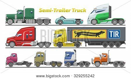 Semi Trailer Truck Vector Vehicle Transport Delivery Cargo Shipping Illustration Set Of Trucking Fre