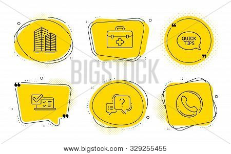 Question Mark, Skyscraper Buildings And Call Center Signs. Chat Bubbles. Online Survey, First Aid An
