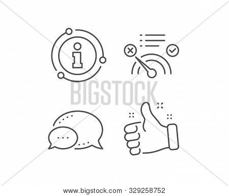 Reject bandwidth meter line icon. Chat bubble, info sign elements. No internet sign. Speedometer symbol. Linear no internet outline icon. Information bubble. Vector poster