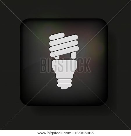 Vector Light Bulb Icon On Black