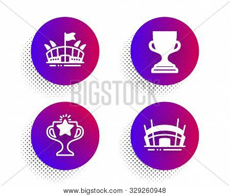 Arena, Victory And Award Cup Icons Simple Set. Halftone Dots Button. Arena Stadium Sign. Sport Stadi