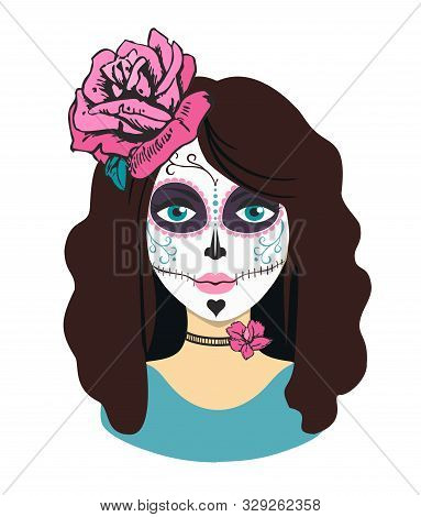 Day Of The Dead Girl. Female Character With Mexican Catrina Makeup