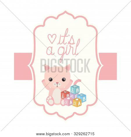 Cute Little Cat In Its A Girl Card Vector Illustration Design