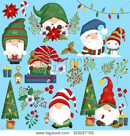 A Vector Set Of Cute Gnomes In Various Positions And Actions For Christmas Season