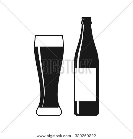 Beer Bottle And Glass Graphic Icon. Beer Bottle And Glass Sign Isolated On White Background. Vector