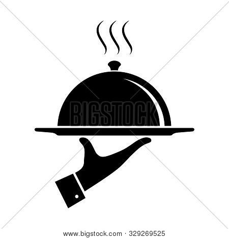 Serving Food Icon. Sign Hand Of Waiter With Serving Tray. Waiter Serving. Isolated Symbol On White B