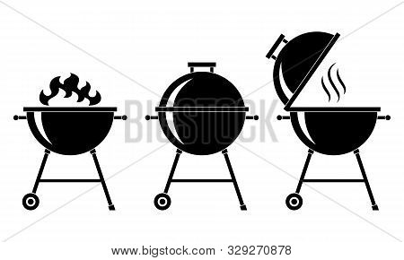 Grills Bbq Set Icons. Grills Barbecue Symbols Isolated Black Signs On White Background. Vector Illus