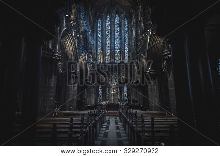 Glasgow, Scotland, December 16, 2018: Magnificent Perspective View Of Interiors Of Glasgow Cathedral