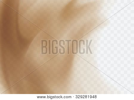 Desert Sandstorm, Brown Dusty Cloud Or Dry Sand Flying With Gust Of Wind, Brown Smoke Realistic Text