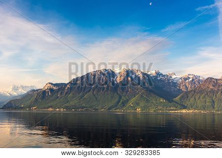 Natural Landscape Scenery View Of Lake Geneva And Swiss Alps At Switzerland, Nature Scenic Horizonta