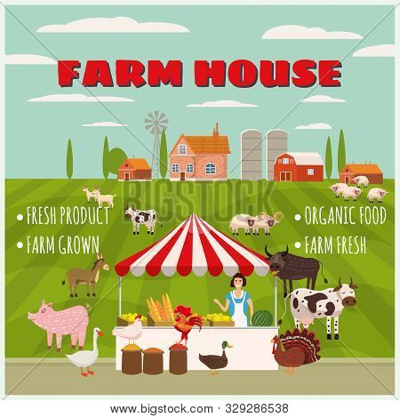 Farm House Farmer Women Sell Harvest Products Grocery On Eco Farm Organic. Farm Animals Goose, Turke