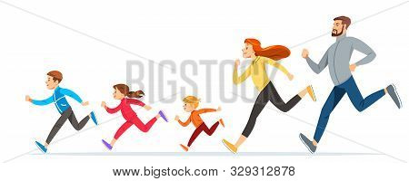 Happy Family With Children Running Or Jogging For Sport And Better Fitness In Summer. Good Relations