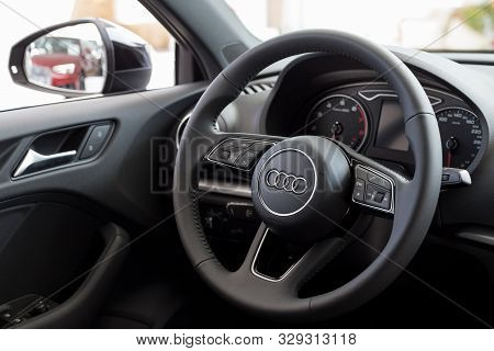 Russia, Izhevsk - September 11, 2019: Audi Showroom. Interior Of New Modern Audi A3.