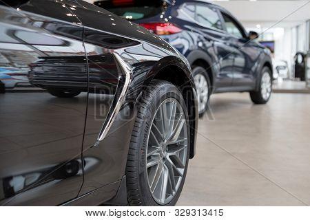 Russia, Izhevsk - October 10, 2019: Hyundai Showroom. New Modern Cars In The Dealer Showroom. Genesi