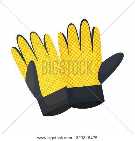 Durable Garden Gloves. Vector Illustration On A White Background.