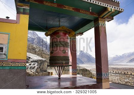 Big Prayer Wheels In Diskit Monastery Or Deskit Gompa For Tibetan People And Foreign Travelers Visit