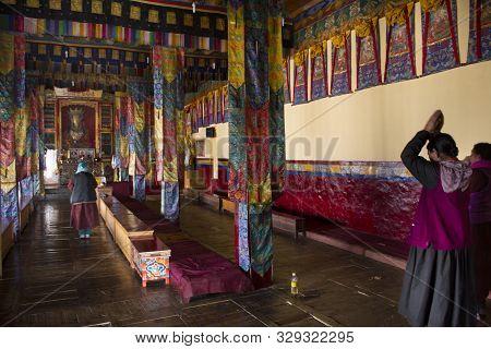 Tibetan People Visit Praying In Diskit Monastery Or Deskit Galdan Tashi Chuling Gompa In The Nubra V