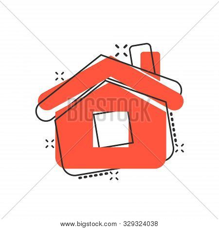 House Building Icon In Comic Style. Home Apartment Vector Cartoon Illustration Pictogram. Dwelling B