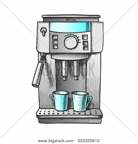 Espresso Machine With Two Cups Color Vector. Coffee Machine For Brewing Aroma Hot Beverage. Coffeesh